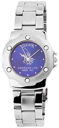 Dawn Damen Analog Armbanduhr mit Quarzwerk 200423000137 und Metallgehaeuse mit Metallarmband in Silberfarbig und Faltschliesse Ziffernblattfarbe blau Bandgesamtlaenge 19 cm Armbandbreite 20 mm