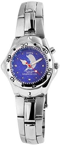 Dawn Damen mit Quarzwerk 100423100356 und Metallgehaeuse mit Metallarmband in Silberfarbig und Faltschliesse Ziffernblattfarbe blau Bandgesamtlaenge 20 cm Armbandbreite 16 mm
