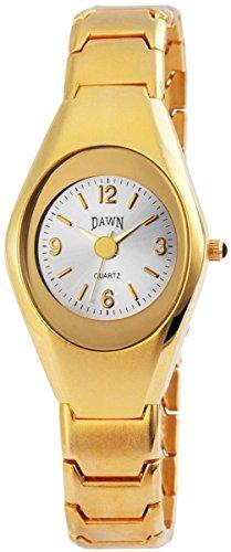 Dawn Damen Analog Armbanduhr mit Quarzwerk 100402500368 und Metallgehaeuse mit Metallarmband in Goldfarbig und Faltschliesse Ziffernblattfarbe Anthrazit Bandgesamtlaenge 21 cm Armbandbreite 16 mm