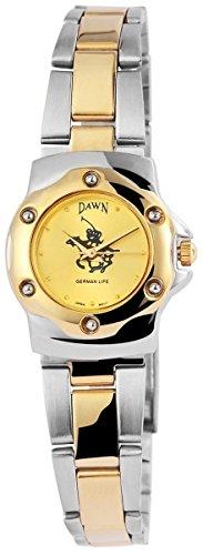 Dawn Damen mit Quarzwerk 100414000281 und Metallgehaeuse mit Metallarmband in mehrfarbig und Faltschliesse Ziffernblattfarbe goldfarbig Bandgesamtlaenge 18 cm Armbandbreite 14 mm