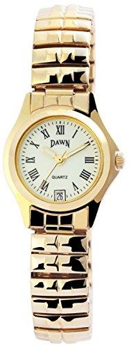Dawn Damen mit Quarzwerk 100404000110 und Metallgehaeuse mit Goldfarbigem Metallzugband Ziffernblattfarbe gruen Armbandbreite 12 mm
