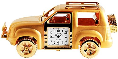 Dawn Analog Miniaturuhr Tischuhr Standuhr mit Quarzwerk und Motiv SUV Gelaendewagen Safari 300402000025 Goldfarbiges Gehaeuse