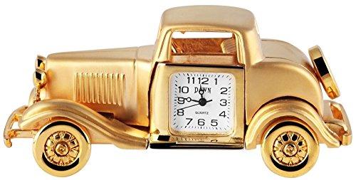Dawn Miniaturuhr Tischuhr Standuhr mit Quarzwerk und Motiv OldtimerAuto 300402000166 Goldfarbiges Gehaeuse