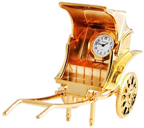 Dawn Analog Miniaturuhr Tischuhr Standuhr mit Quarzwerk und Motiv Kutsche 300402000027 Goldfarbiges Gehaeuse 8 3 cm