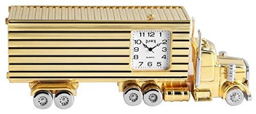Dawn Analog Miniaturuhr Tischuhr Standuhr mit Quarzwerk und Motiv Truck Laster LKW 300402000053 Goldfarbiges Gehaeuse 14 0 cm