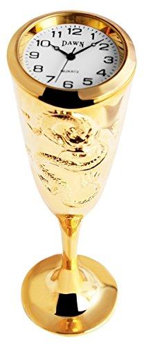 Dawn Analog Miniaturuhr Tischuhr Standuhr mit Quarzwerk und Motiv Kelch 300402000054 Goldfarbiges Gehaeuse 12 2 cm