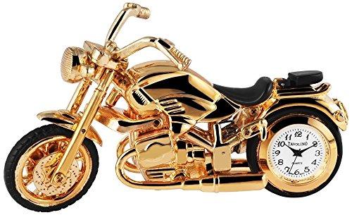 Dawn Analog Miniaturuhr Tischuhr Standuhr mit Quarzwerk und Motiv Chopper Motorrad 300402000102 Goldfarbiges Gehaeuse