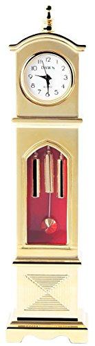 Dawn Analog Miniaturuhr Tischuhr Standuhr mit Quarzwerk 300402000143 Goldfarbiges Gehaeuse Masse 13 0 cm