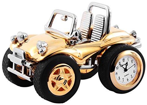 Dawn Analog Miniaturuhr Tischuhr Standuhr mit Quarzwerk und Motiv BuggyAuto 300412000060 Goldfarbiges Gehaeuse 8 2 cm