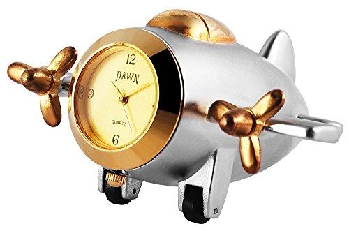Dawn Miniaturuhr Tischuhr Standuhr mit Quarzwerk und Motiv Flugzeug 300412000163 Goldfarbiges Gehaeuse 10 2 cm