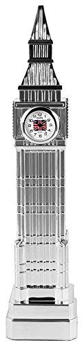 Dawn Miniaturuhr Tischuhr Standuhr mit Quarzwerk und Motiv Big Ben London England Turm 300422000100 Silberfarbiges Gehaeuse 21 cm 3 cm