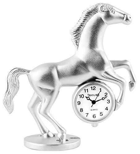 Dawn Analog Miniaturuhr Tischuhr Standuhr mit Quarzwerk und Motiv Pferd 300422100003 Silberfarbiges Gehaeuse