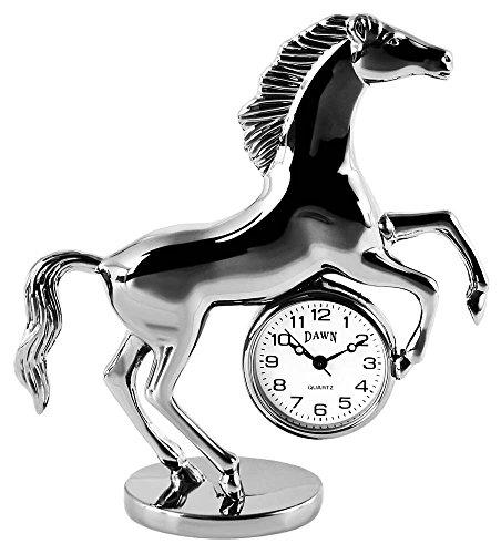 Dawn Analog Miniaturuhr Tischuhr Standuhr mit Quarzwerk und Motiv Pferd 300472000003 Silberfarbiges Gehaeuse