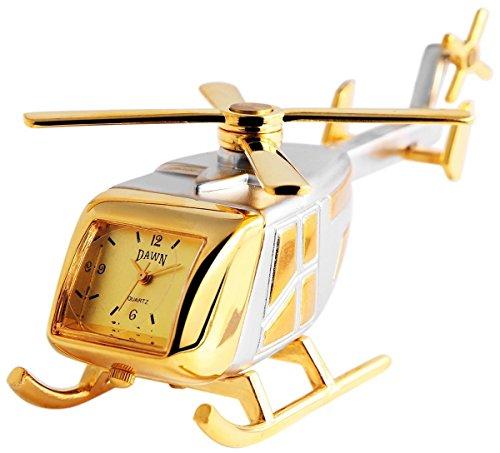 Dawn Analog Miniaturuhr Tischuhr Standuhr mit Quarzwerk und Motiv Hubschrauber 300414000074 Bicolor Gehaeuse 9 0 cm