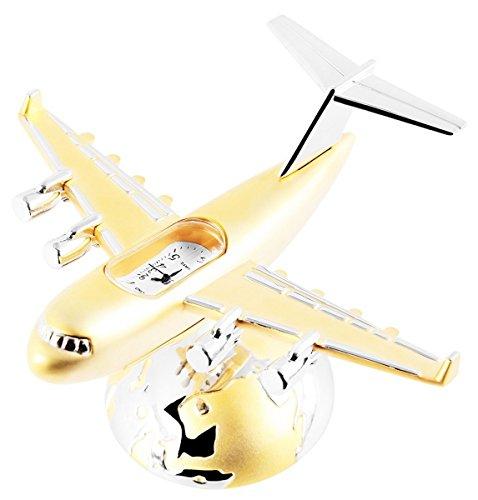 Dawn Analog Miniaturuhr Tischuhr Standuhr mit Quarzwerk im Motiv Flugzeug 300412000075 Bicolor Gehaeuse