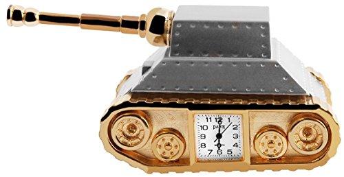 Dawn Analog Miniaturuhr Tischuhr Standuhr mit Quarzwerk im Motiv Panzer 300412000109 Bicolor Gehaeuse Masse 12 5 cm