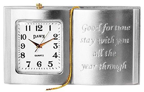 Dawn Analog Miniaturuhr Tischuhr Standuhr mit Quarzwerk und Motiv Buch 300422000059 Bicolor Gehaeuse 5 0 cm