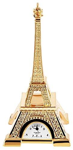 Miniaturuhr Tischuhr Standuhr mit Quarzwerk und Motiv Eiffelturm Paris Frankreich 300402100048 Goldfarbiges Gehaeuse 10 3 cm