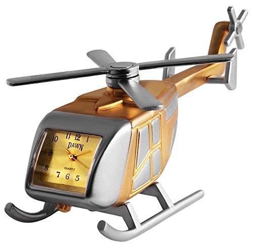 Analog Miniaturuhr Tischuhr Standuhr mit Quarzwerk und Motiv Hubschrauber 300414100074 Goldfarbiges Gehaeuse 9 0 cm 4 0 cm
