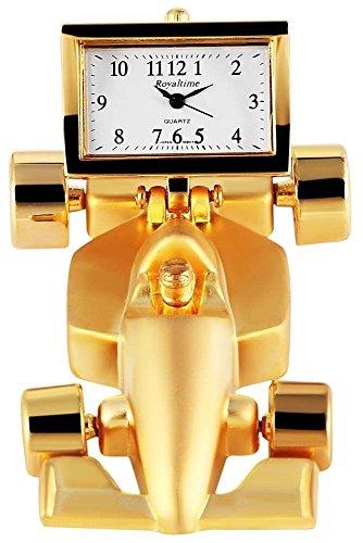 Miniaturuhr Tischuhr Standuhr mit Quarzwerk und Motiv Rennwagen 300402000012 Goldfarbiges Gehaeuse