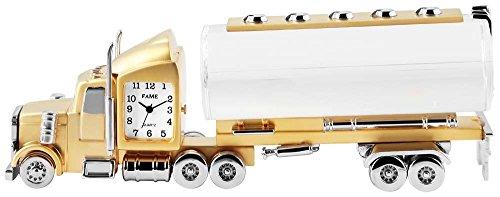 Miniaturuhr Tischuhr Standuhr mit Quarzwerk und Motiv LKW Tankwagen 300402100066 Bicolor Gehaeuse
