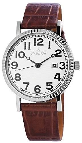 Noble Herren Analog Armbanduhr mit Quarzwerk 200722000022 und gehaeuse mit Kunstlederarmband in Braun und Dornschliesse Ziffernblattfarbe Weiss Bandgesamtlaenge 23 cm Armbandbreite 20 mm