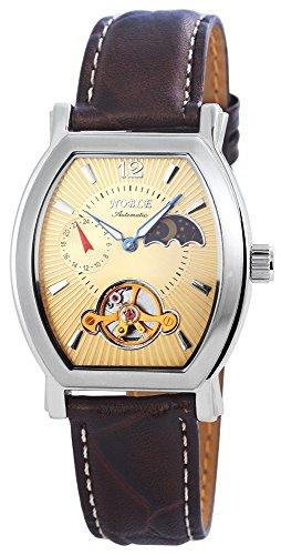 Noble mit Automatikwerk 200924000013 und Echt Lederarmband in Braun mit Dornschliesse Ziffernblattfarbe goldfarbig Bandgesamtlaenge 25 cm Armbandbreite 20 mm