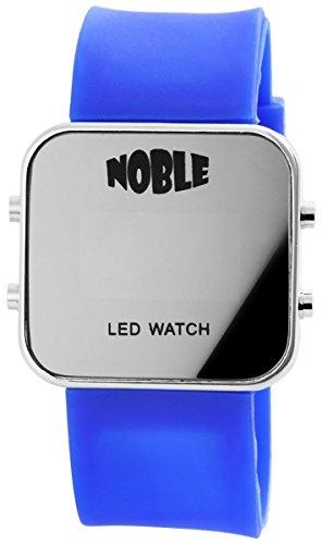 Noble Damen mit Quarzwerk 100823000001 und Metallgehaeuse mit Silikonarmband in Blau und Dornschliesse Ziffernblattfarbe Anthrazit Bandgesamtlaenge 23 cm Armbandbreite 28 mm