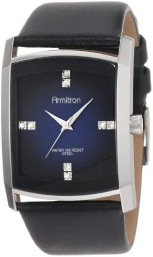 Armitron Herren 204604DBSVBK Kleid Swarovski Crystal Akzent Silber-Tone Black Leather Armbanduhr