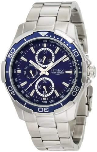 Armitron Herren 204677BLSV Edelstahl-Multi-Function Blue Dial Sport Watch