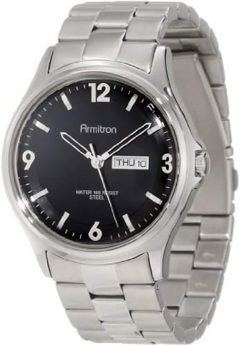 Armitron Herren 204847BKSV Stainless Steel Silver-Tone Black Dial Bracelet Armbanduhr