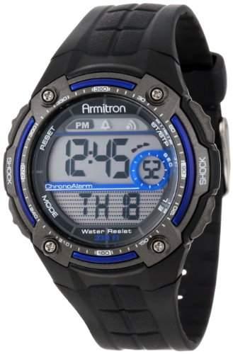 Armitron Herren-Armbanduhr 45mm Armband Harz Schwarz + Gehaeuse Acryl Batterie Zifferblatt Grau 408189BLU