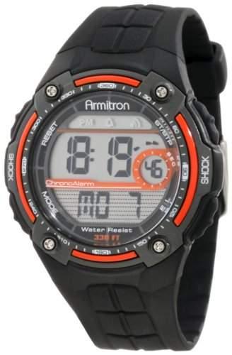 Armitron Sport Herren 408189ORG Orange Accented Black Resin Digital Chronograph Armbanduhr