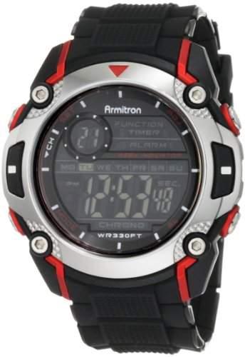 Armitron Herren-Armbanduhr 15mm Armband Plastik Schwarz Gehäuse Harz Acryl Quarz Digital 408232RED