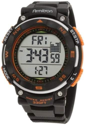 Armitron Sport Herren 408254ORG Black Strap Orange Accented Digital Chronograph Armbanduhr
