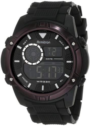 Armitron Sport Herren 408257BLK Chronograph Black Resin Digital Armbanduhr