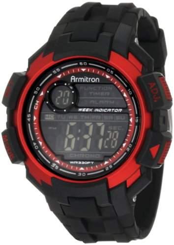 Armitron Sport Herren 408258RED Chronograph Black Resin Red Accented Digital Armbanduhr