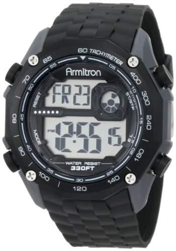 Armitron Sport Herren 408259BLK Chronograph Grey Resin Digital Armbanduhr