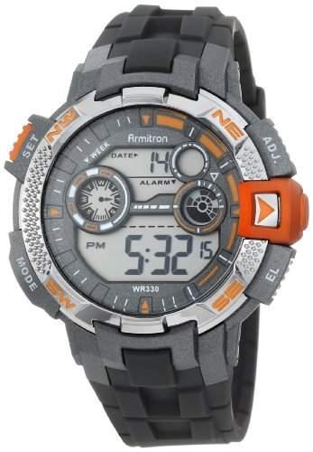 Armitron Sport Herren 408280ORG Metallic Orange Accented Grey Resin Strap Digital Chronograph Armbanduhr