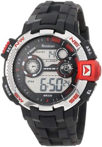 Armitron Sport Herren 408280RED Metallic and Red-Accented Black Resin Strap Digital Chronograph Armbanduhr