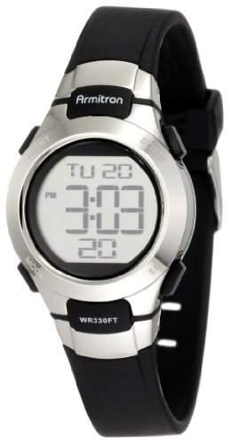 Armitron Sport Damen 457012BLK Chronograph Black Resin Stainless-Steel Accent Strap Armbanduhr