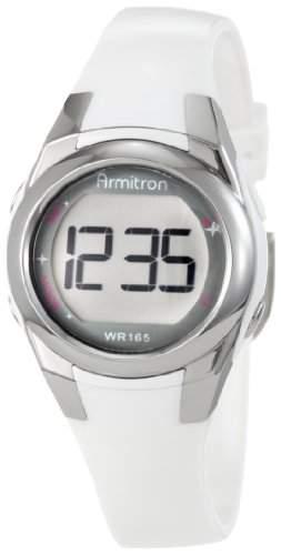 Armitron Damen-Armbanduhr 27mm Armband Harz Weiss Gehäuse + Acryl Quarz Digital 457021WHT