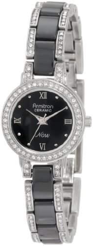 Armitron NOW Frauen 753919BKSV Swarovski Crystal Silver-Tone und Black Ceramic Uhr Accented