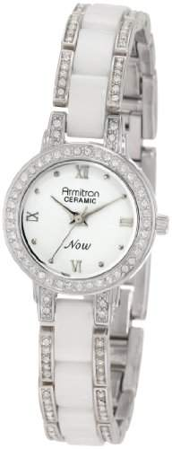 Armitron NOW Frauen 753919WTSV Swarovski Crystal Silver-Tone and White Ceramic Uhr Accented