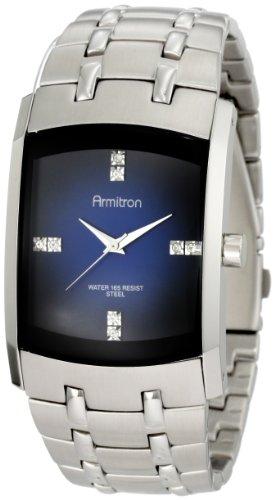 Armitron Herren 204507DBSV Swarovski Crystal Akzent Silber Ton Blau Degrade Dial Kleid zu sehen