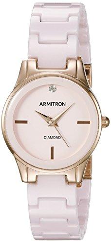 Armitron Damen 75 5348vhrg diamond accented Rose goldfarbene und Light Pink Keramik Armband Armbanduhr
