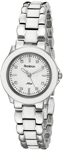 Armitron Damen 753888WTSVWT Swarovski Crystal Silver Tone and White Enamel Armbanduhr