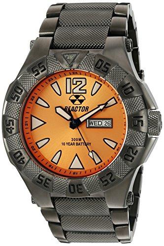 REACTOR 53608 Unisex Gamma Tag Datum Sonnenstrahl Gunmetal Armband Band Orange Zifferblatt Armbanduhr