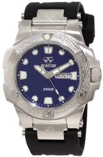 REACTOR Herren-Armbanduhr 42mm Armband Kautschuk Schwarz Gehaeuse Edelstahl Quarz Zifferblatt Blau 72803