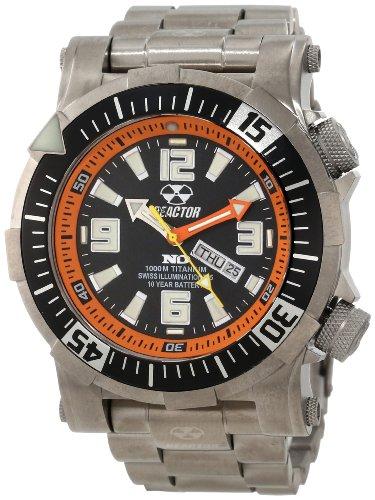 Reactor 54008 Poseidon Ti Herren Strainless Stahl Silber Armband Band Schwarzes Zifferblatt Uhr